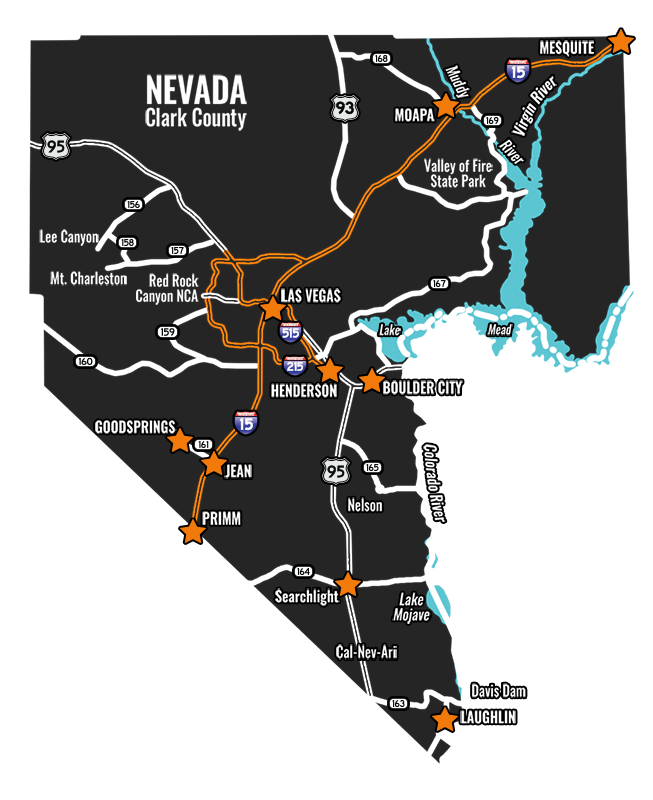 Map of Clark County in Nevada