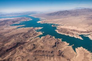 aerial vide of Colorado river and lake mead